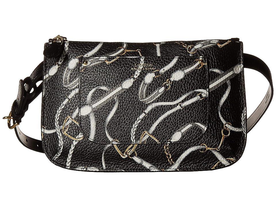 LAUREN Ralph Lauren Belt Bag (Black Signature Belting Print) Women
