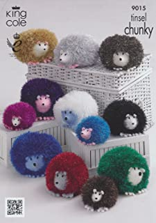 King Cole Tinsel Chunky & Dollymix DK Knitting Pattern Hedgehog Family 9015