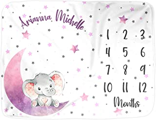 Elephant Baby Milestone Blanket Girl, Personalized Name Month Blankets, Photo Props Infant Newborn Photography, Love You to The Moon Stars Nursery Shower Gift New Moms (Elephant-Pink, Smooth 38x28)