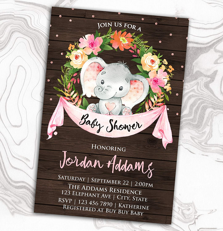 Elephant Baby Great interest Shower Invitation - Invite Floral Sprinkle Diaper New arrival