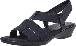 Easy Street Women's Block Heel Sandal Wedge, Navy Gore, 9.5 X-Wide