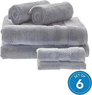 iDesign Spa 6 Piece Bath Towels with Hanging Loop, 100% Cotton Soft Absorbent Machine Washable Towels for Bathroom, Gym, Shower, Tub, Pool, 2 Bath Towels, 2 Hand Towels, 2 Washcloths - Gray