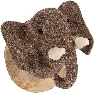 Karma Living Stuffed Animal Felted Wool Elephant Head Mount Trophy Wall Art Wood Plaque - Handmade