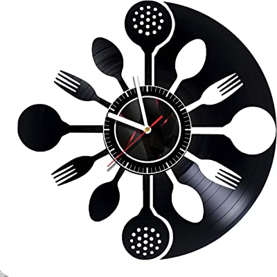 ArtoriDesign18 Spoons - Wall Clock Made of Vinyl Record - Gift idea for Birthday, Christmas