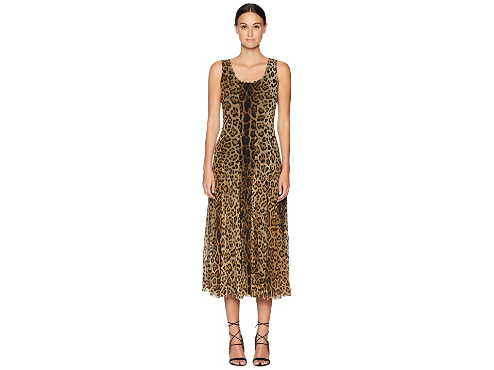 FUZZI Long Tank Dress in Animal Print (Cammello) Women
