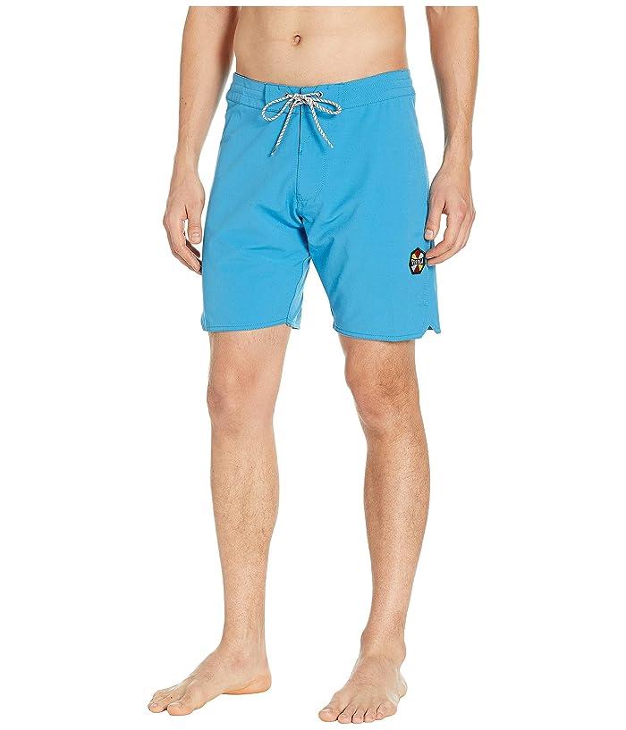 VISSLA Solid Sets Washed Four-Way Stretch Boardshorts 18.5 (Maui Blue) Men