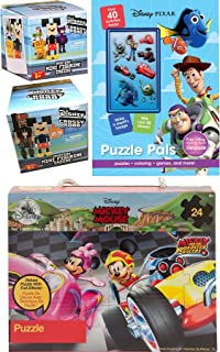 Puzzle Time Crossy Road Disney Pixelated Figure Pack Series 1 Blind Box + Series 2 8-Bit Figure & Mickey Roadster Racer Jigsaw + Activity Book Pixar Pals Stickers / Mazes / Searches & More