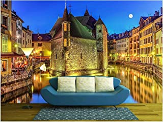 wall26 - Palais De Lile Jail and Canal in Annecy Old City, France, HDR - Removable Wall Mural | Self-Adhesive Large Wallpaper - 66x96 inches