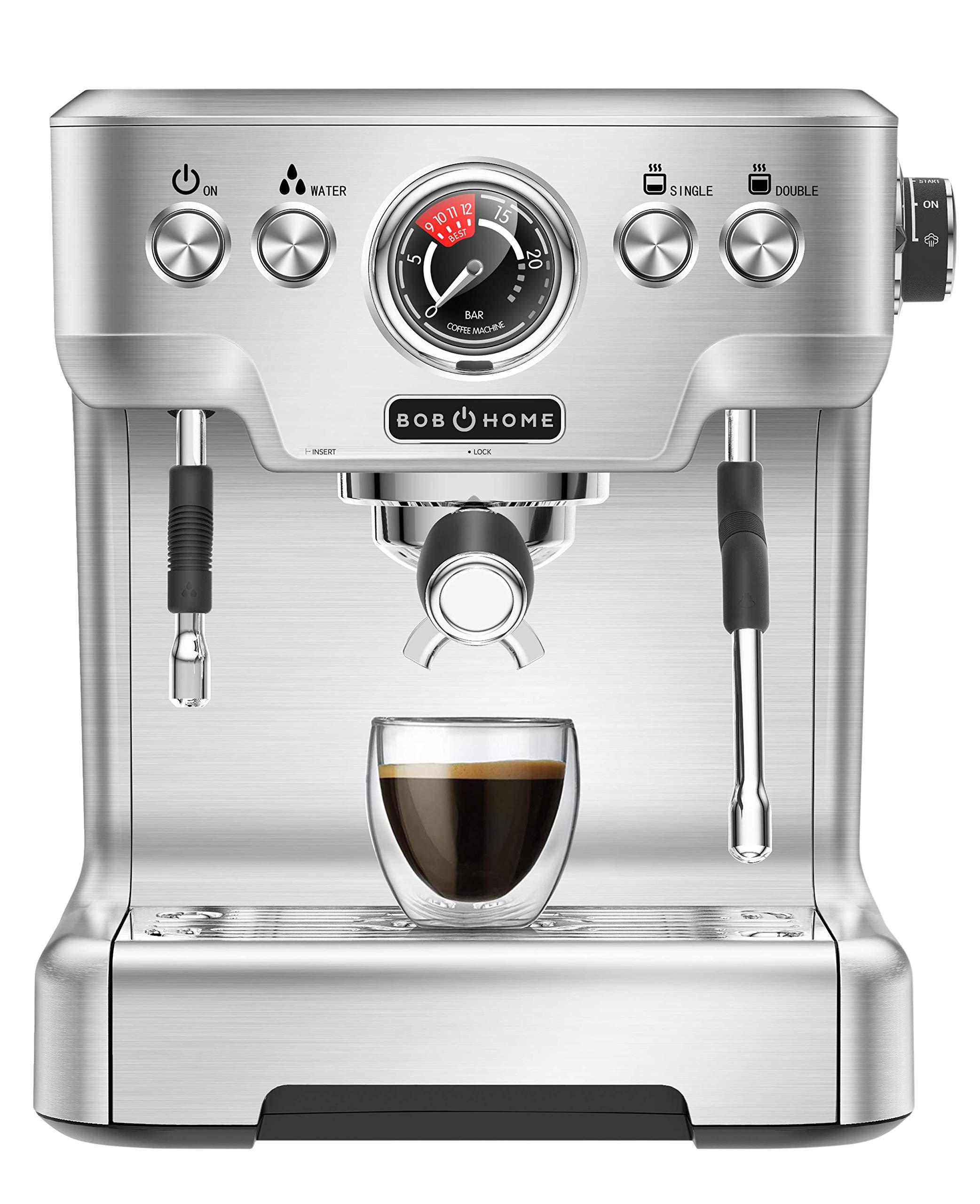BOB HOME ESPRESSO CLUB - Máquina de café espresso (20 bares, indicador de presión, carcasa de aluminio fundido a presión, espumador de leche, boquilla de agua caliente, café expreso con solo pulsar