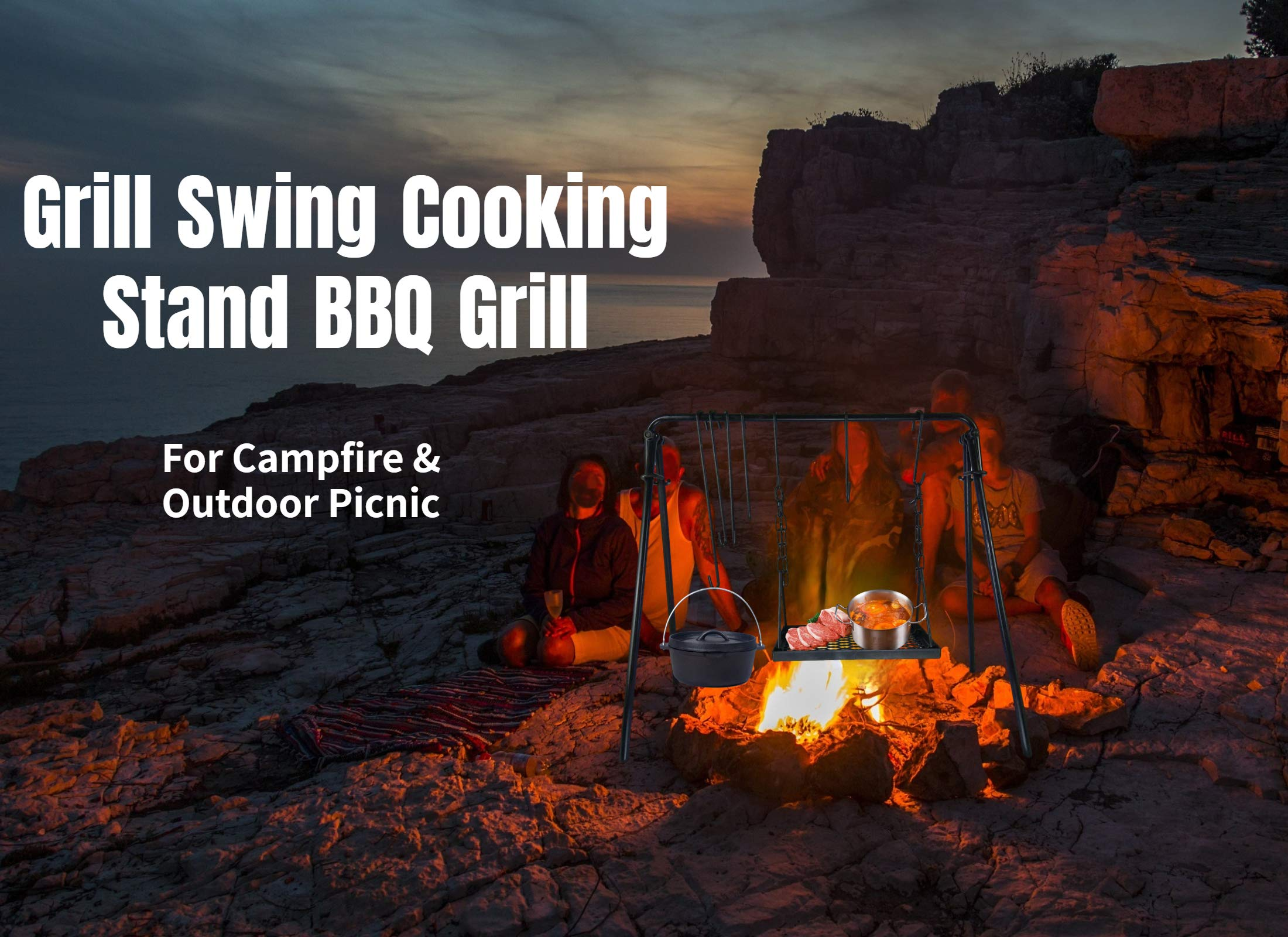 Details about  /Marada Grill Swing Cooking Stand BBQ Grill for Campfire /& Outdoor Picnic Cook...