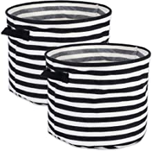 DII Cabana Stripe Collapsible Waterproof Coated Anti-mold Cotton Round Basket Bin, Perfect For Laundry Room, Bedroom, Nurs...