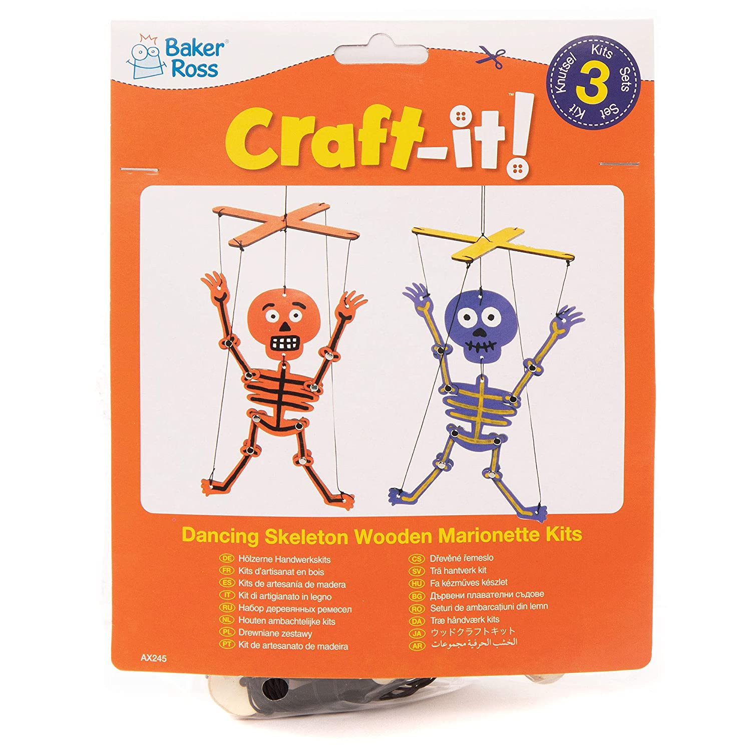 Baker Ross AX21 Skeleton Wooden Puppet Kits for Kids - Pack of 21 With Regard To Skeleton Book Report Template