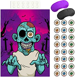 FEPITO Pin The Eye on The Zombie Halloween Game with 24 Pcs Zombie Eye Stickers for Halloween Party Favors, Halloween Decorations