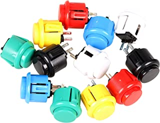 EG STARTS 12x 24mm OEM Arcade Buttons Switch Perfect Replace para Sanwa OBSF-24 Push Button DIY Fighting Stick PC Joystick Juegos Parts (Each Color of 2 Pieces)