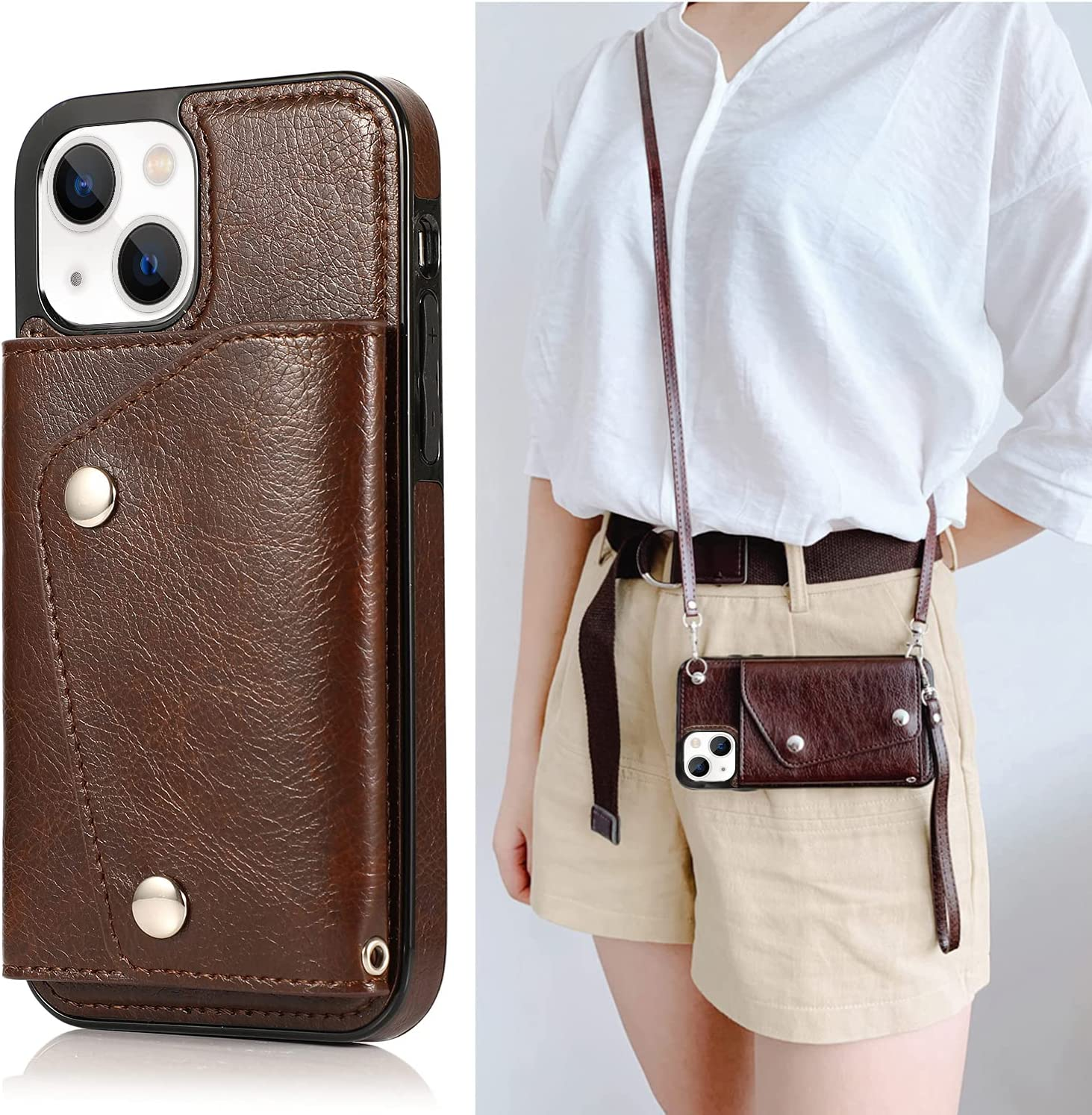 LUVI Compatible with iPhone 13 Wallet Case with Card Holder Crossbody Neck Strap Lanyard Handbag Wrist Strap Purse for Women PU Leather Flip Case with Credit Card Slot Kickstands Stand Case Brown