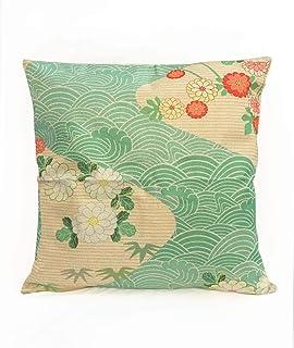 ノーブランド品 WAGARA, Japanese Design Cushion Cover. Square Type. Japanese Art Item for Room Decoration. (Beige River&Flower)