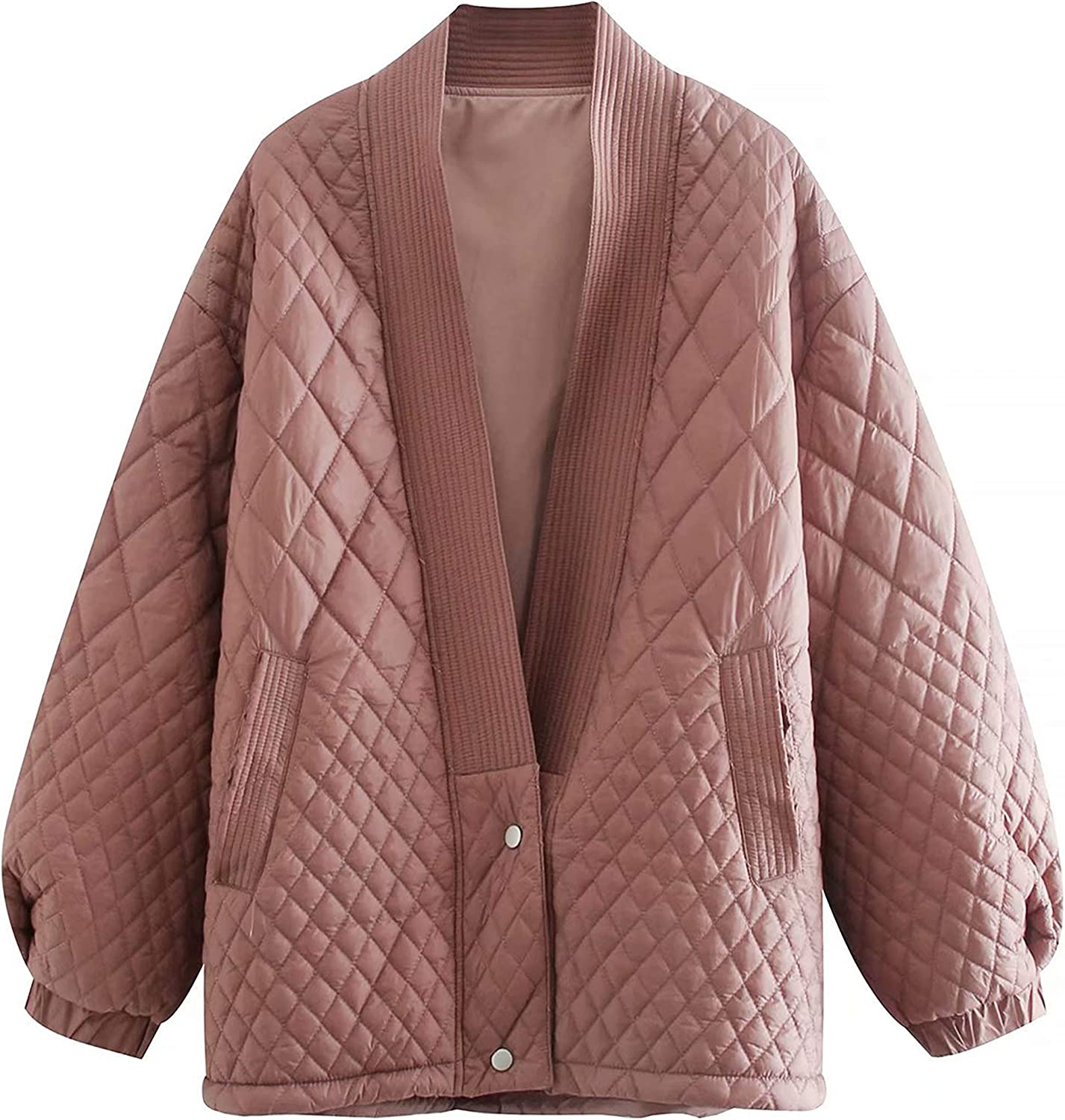 UANEO Womens Padded Quilted Puffer V-Neck Long Sleeve Cardigan Jackets(Pink-L)