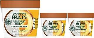 Garnier Fructis Nourishing Treat 1 Minute Hair Treat Mask with Moisturizing Coconut Extract (Packaging May Vary) 1 Kit