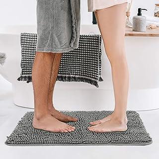 BEDELITE バスマット おしゃれ 浴室足ふきマット お風呂場マット 玄関マット 洗える マイクロファイバー 裏面TPR素材 耐久性 グレー 40*60cm もこもこ 吸水 速乾 滑り止め 抗菌 防臭