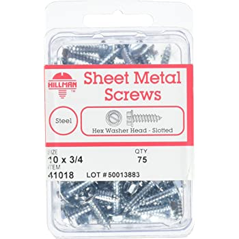 12-Inch X 1//2-Inch The Hillman Group 5338 Hex Washer Head Slotted Sheet Metal Screw 7-Pack