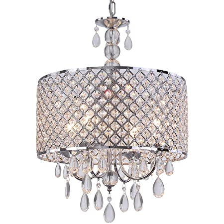 Q&S Modern Crystal Chandelier Light Fixture,Farmhouse Chrome Metal Round Pendant Hanging Lighting Perfect for Kitchen Island Dining Room Living Room Foyer Entryway Bedroom,E12 4-Lights