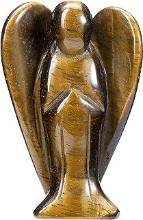 "CrystalTears 3"" Tiger Eye Crystal Guardian Angel Figurine Hand Carved Reiki Healing Crystals Gemstone Pocket Angels Statue..."