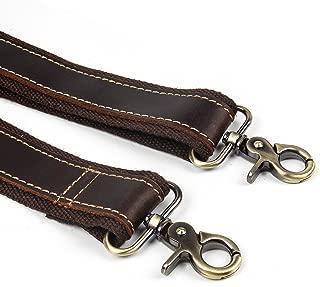 Crazy Horse Leather Adjustable Padded Replacement Shoulder Strap with Metal Swivel Hooks for Briefcase, Luggage Bag Strap Messenger Bag Strap, Laptop Bag Strap (coffee)