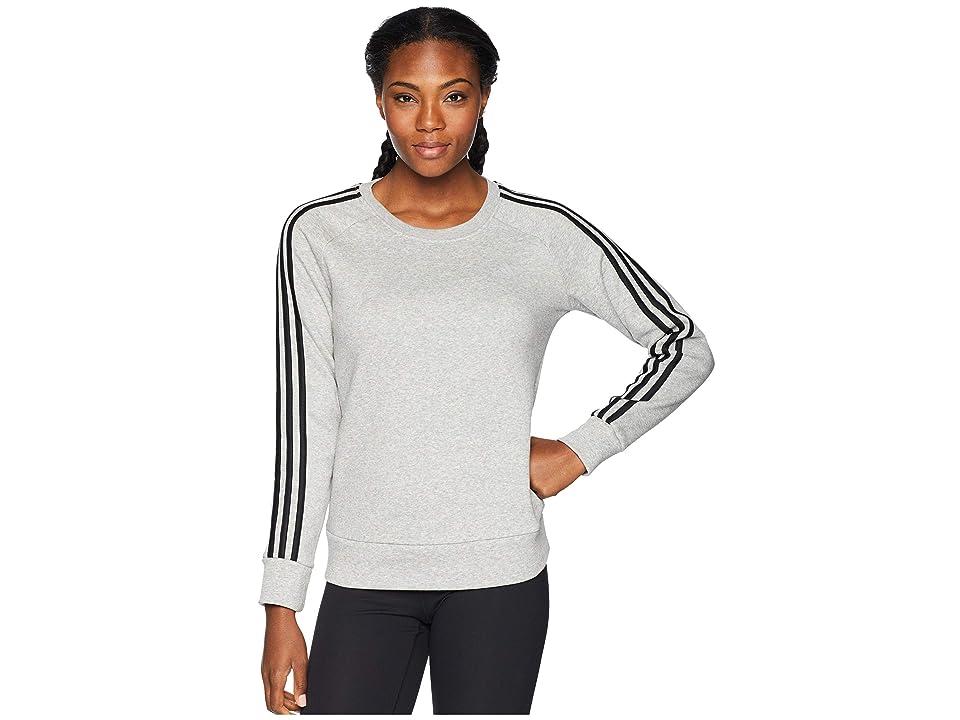 adidas Cotton Fleece 3-Stripes Sweatshirt (Medium Grey Heather/Black) Women's Sweatshirt, Gray