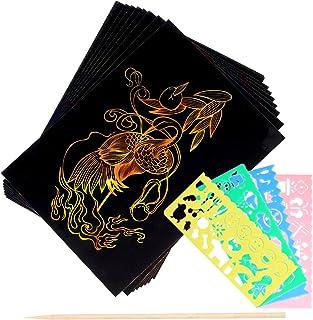 Lot de 26 cartes à gratter pour enfants - Papier à gratter arc-en-ciel pour le dessin et le bricolage - Avec pochoirs, sty...