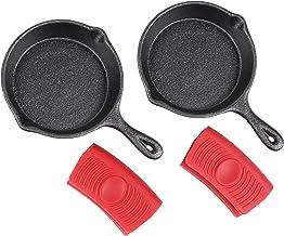Stekpannor i Gjutjärn (Ø10 cm, 2-Pack) för Matlagning och Bakning + 2 Silikon Handtagshållare