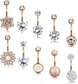 LOLIAS 8-21 Pcs 14G Belly Button Rings for Women Girls Navel Barbell Rings Body Piercing Jewelry