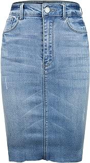 Women's Stretchy High Waisted Midi Denim Pencil Skirt w/Side Slit