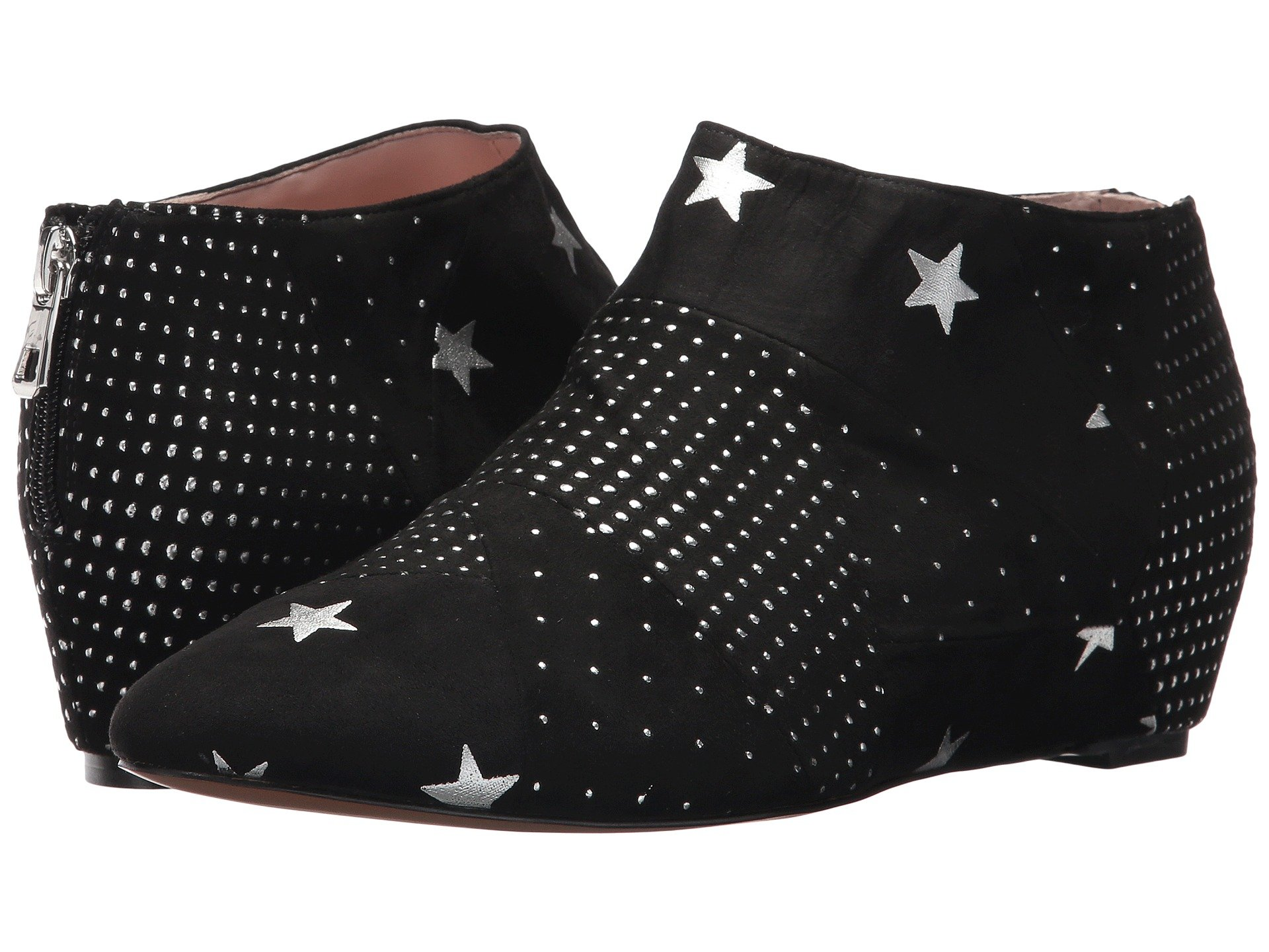 AVEC LES FILLES Women'S Beatrice Embellished Faux Suede Hidden Wedge Booties in Silver/Black Stars & Dots/Patchwork