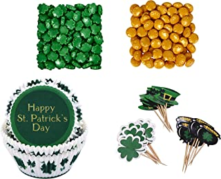 Happy St. Patrick's Day 75 Piece Cupcake Baking Cups 48 Topper Picks & 2.1 oz of Gold & Green Novelty Sprinkles Holiday Cupcake Baking Decorating Bundle