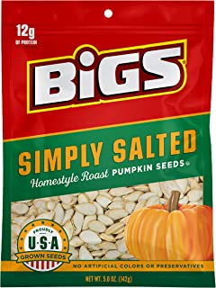 BIGS Simply Salted Homestyle Roast Pumpkin Seeds, Keto Friendly Snack, Low Carb Lifestyle, 5-oz. Bag