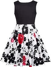 GRACE KARIN Girls Pleated Print Cotton A-Line Skirts Dresses