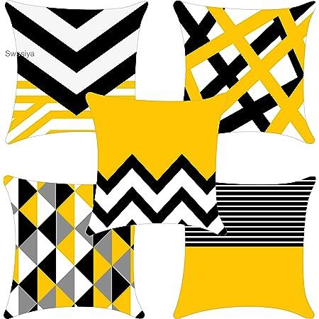 Swasiya™ Satin Printed Digital Desgin Decorative Sofa Cushion Cover Pack of 5 ( 40x40 cm or 16x16 Inch )- Set of 5 Yellow & Black