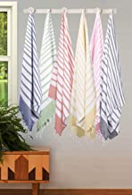 Ramanta Home Cotton Turkish Towel 39x70 Pre-Washed - Classic Stripe - Fouta Beach Towel - Large Peshtemal Bath Sheet - Hammam Towel - Cotton Fouta Towel 6 Pack - Multi Color