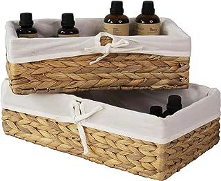 Made Terra Lot de 2 paniers de rangement en osier tressé, paniers décoratifs et organisateur de salle de bain pour le salo...