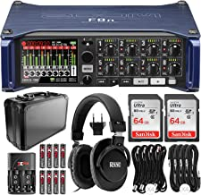 Zoom F8n Multi-Track Field Recorder with 2x 64GB Memory Card, Monitoring Headphones, and Deluxe Bundle