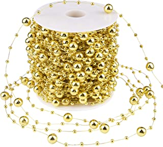 Livder 100 Feet Christmas Tree Beads Garland Decoration, Artificial Plastic Reflective Pearls Strands String Chain Beaded Roll (Golden)