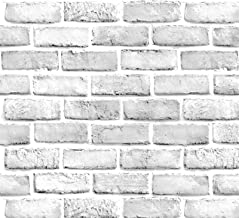 Yancorp White Gray Brick Wallpaper Grey Self-Adhesive Paper Home Decoration Peel and Stick Backsplash Wall Panel Door Chri...