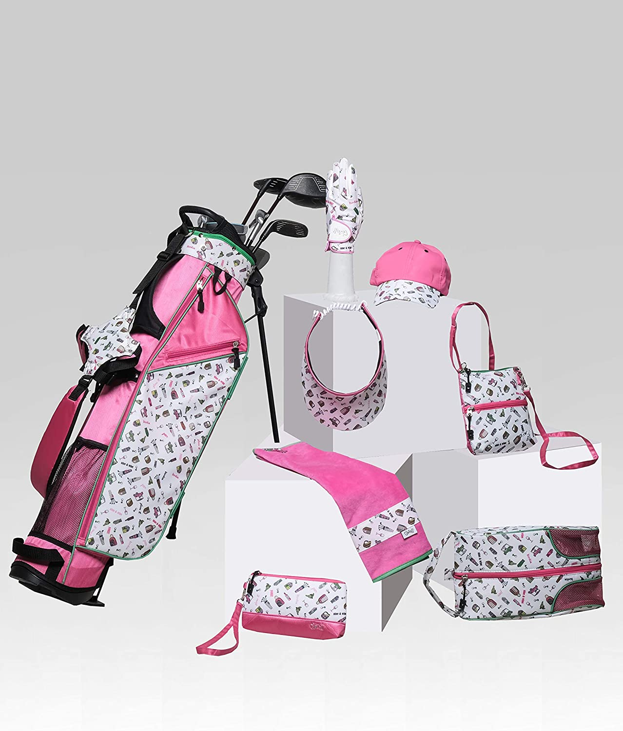 Glove It Exclusive Nine & Wine Mini Sunday Golf Bag for Women, Lightweight with Stand, 4-Way Divider, 3 Easy-Access Pockets, Pink (GBS180)