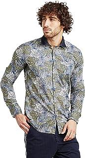 قميص مطبوع بقصة ضيقة وقبة متباينة اوليف L
