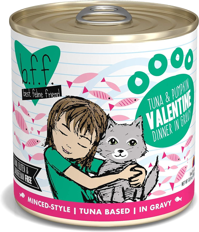 Best Feline Friend (B.F.F.) GrainFree Cat Food by Weruva, Tuna & Pumpkin Valentine, 10Ounce Can (Pack of 12)