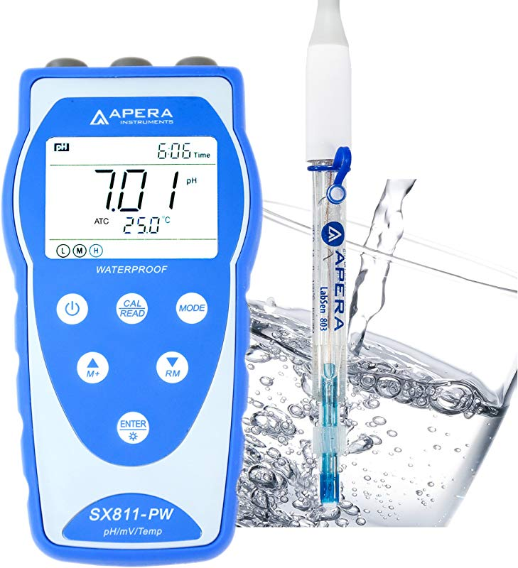 Apera Instruments AI3205 SX811 PW Portable PH Meter For Purified Water Drinking RO Distilled Deionized Water Equipped With LabSen 803 Electrode Plastic Lead Free Glass