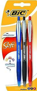 BIC Atlantis Soft bolígrafos Retráctiles punta media (1,0 mm) - colores Surtidos, Blíster de 3 unidades