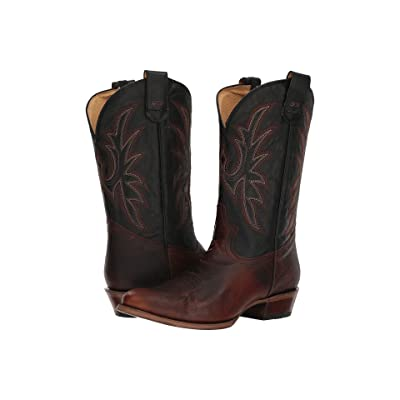 Roper Loaded R (Brown Leather/Black) Cowboy Boots