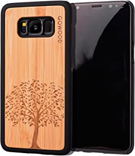 Wood Case for Samsung Galaxy S8 | Real Natural Bamboo Wooden Backplate with Unique Tree Design and Shock Absorbing Polycarbonate Protective Bumper GOWOOD