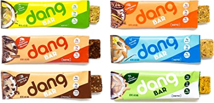 NEW! Dang Bar- KETO CERTIFIED, Low Carb, Plant Based, Gluten Free, Real Food Snack Bar, 1-3g Sugar, 4-5g Net Carbs, No Sugar Alcohols or Artificial Sweeteners, 12 Count (6 Flavor Variety Pack)